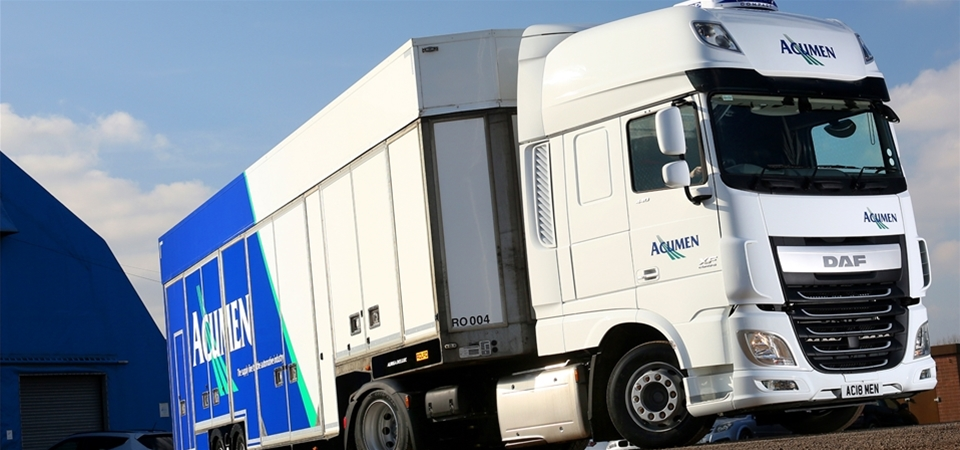 side view of an Acumen Logistics distribution lorry