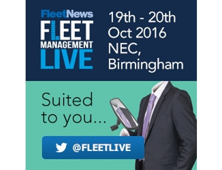 Fleet Management LIVE promotional ad displaying the event times, location and twitter account.