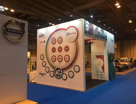 rear view of pjm logistics and Acumen stand at Fleet Management LIVE